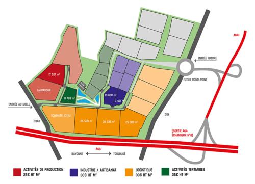 Plan du parc d'activités Sud Landes