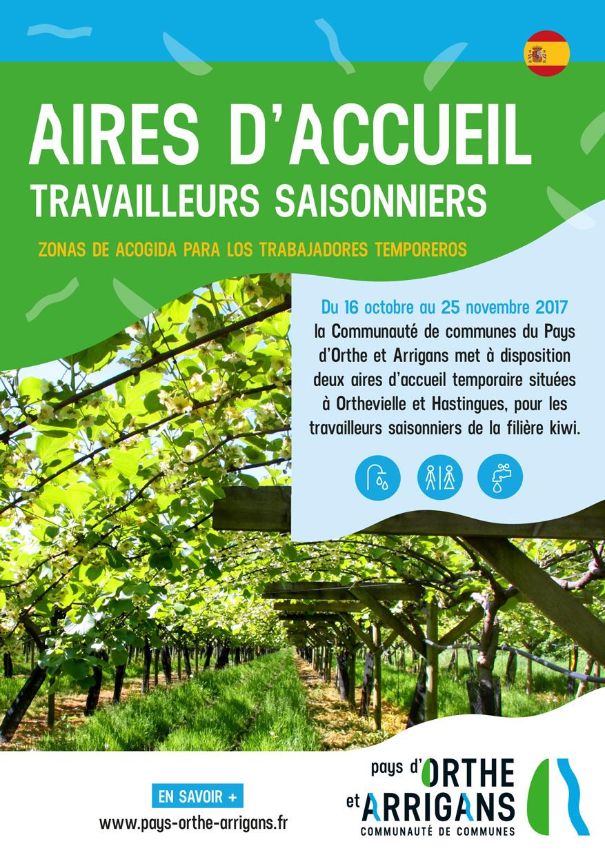 Plaquette d'information aire d'accueil saisonniers Pays d'Orthe et Arrigans